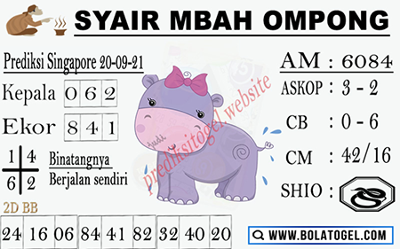 Syair Mbah Ompong SGP Senin 20-Sep-2021