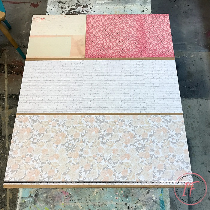 DIY Dollhouse Bookcase Backing Wallpapered