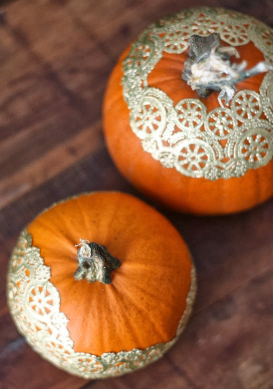 17 apart diy pumpkin decorating golden doily pumpkins White pumpkin carving ideas