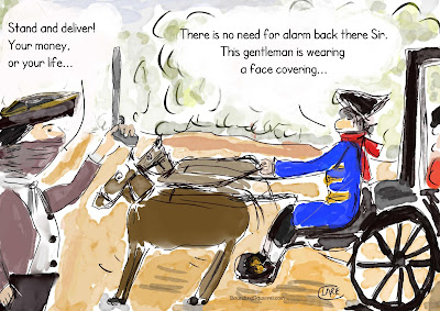 """Funny cartoon """"Highwayman in a Pandemic"""" by Clare Walker, features a highwayman who doesn't frighten a footman, because the highwayman is wearing a mask."""