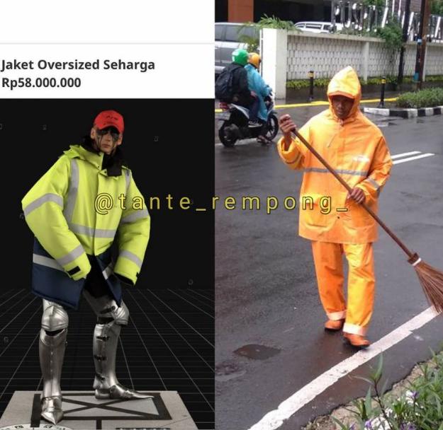 Jaket keluaran Balenciaga seharga Rp58 Juta dicap mirip tukang sampah. (Foto: celebrities.id/Instagram @tante_rempong)