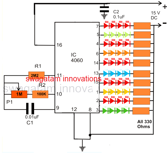 how to make an interesting random led flasher circuit for decorating rh homemadecircuitsprojects com LED Flasher PN2222 Circuit LED Flasher Circuit Schematic