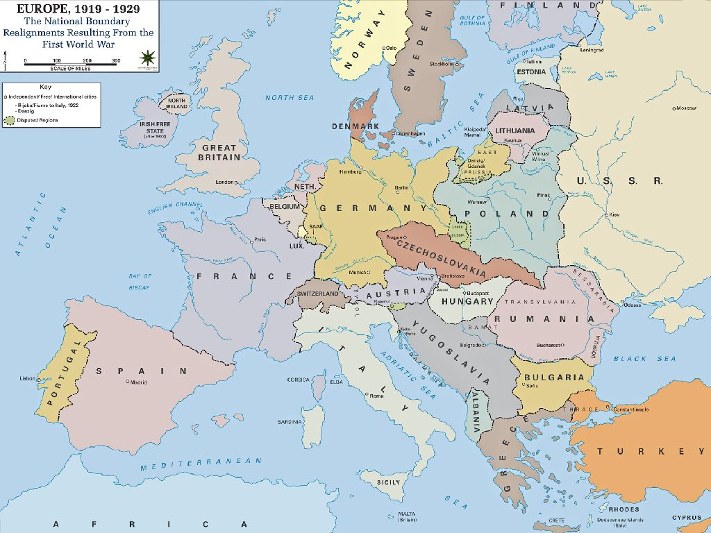 europe map in ww1