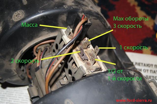 Не работает вентилятор отопителя на первой скорости(самых малых оборотах) на Форд Сиерра ОНС2,0,седан1988г.,карбюратор.