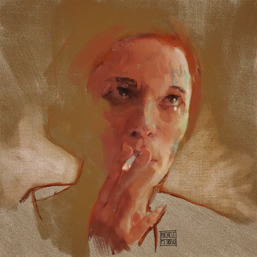 Girl who smokes - portrait mixed on canvas