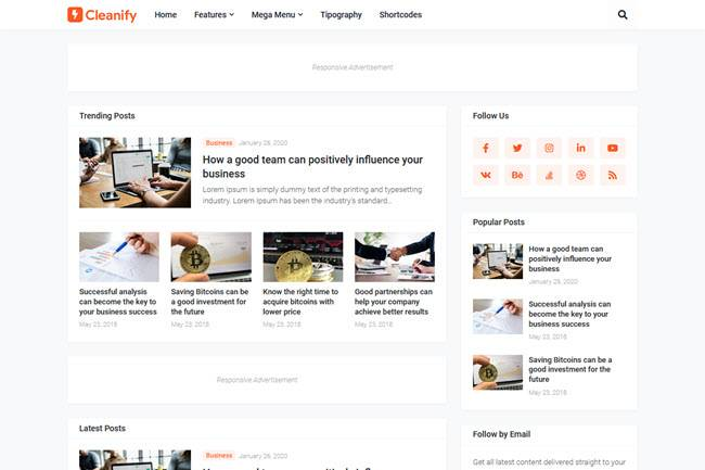 """Cleanify"" SEO Friendly fast loading blogger template"