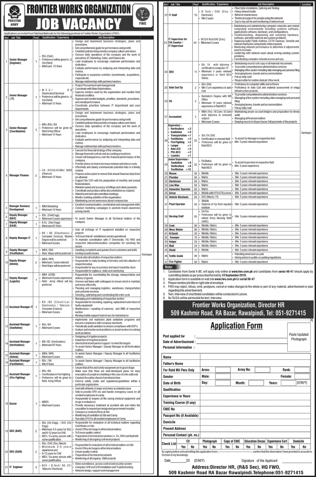 Frontier Works Organization FWO Jobs 2019 For Senior Managers, Accountant, DEO, IT Supervisor, & Others