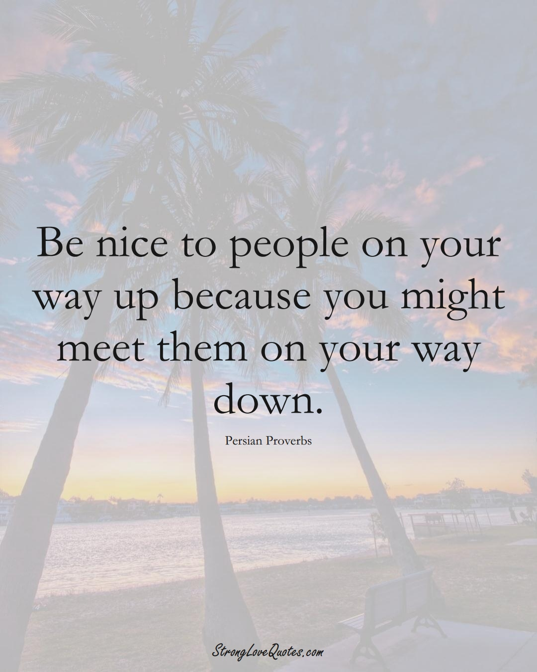 Be nice to people on your way up because you might meet them on your way down. (Persian Sayings);  #aVarietyofCulturesSayings