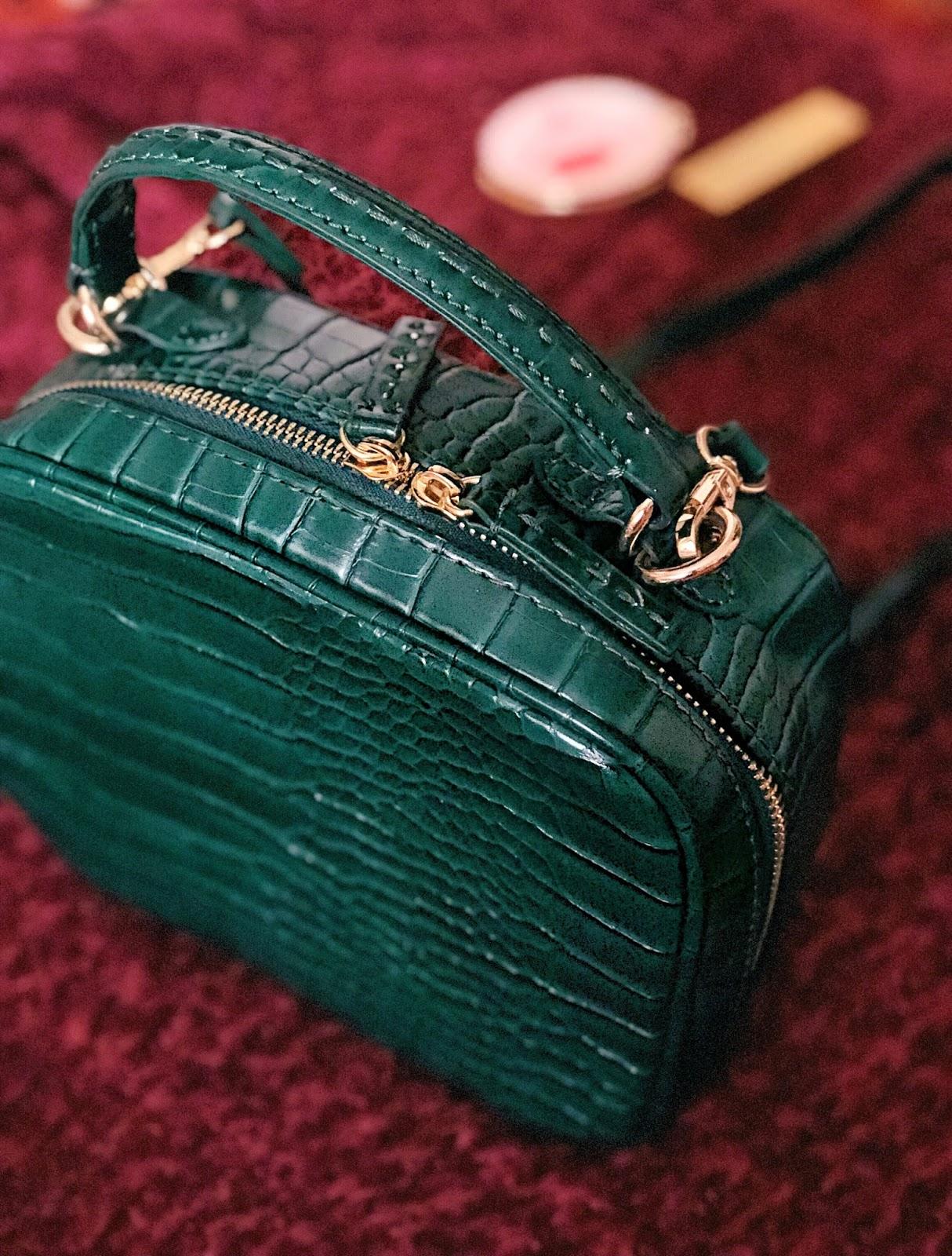 green emerald zara bag handbag purse holiday christmas accessories