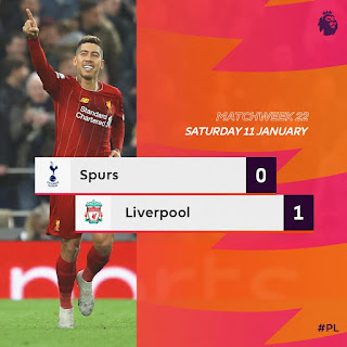Tottenham 0 - 1 Liverpool, Firmino Strikes To Extend Reds Unbeaten Run (Details, Photos & Highlight)
