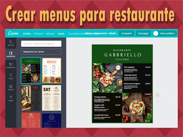 Crear menu para restaurante sin instalar ningun programa