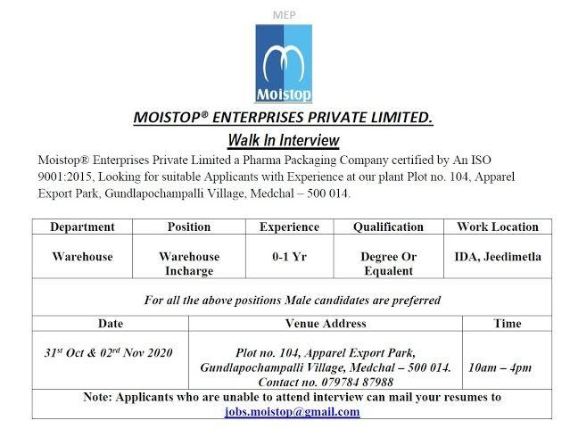 Walk-in Interviews For Freshers & Experienced In Warehouse Company Moistop Enterprises Pvt. Ltd