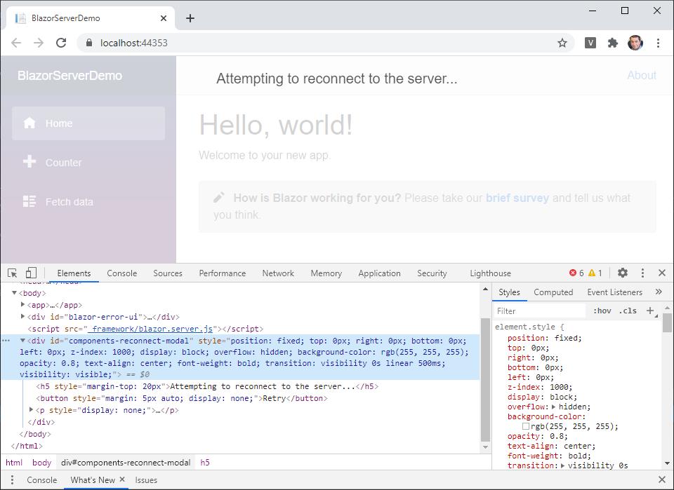 Mensaje modal indicando que se está intentando reconectar con el servidor