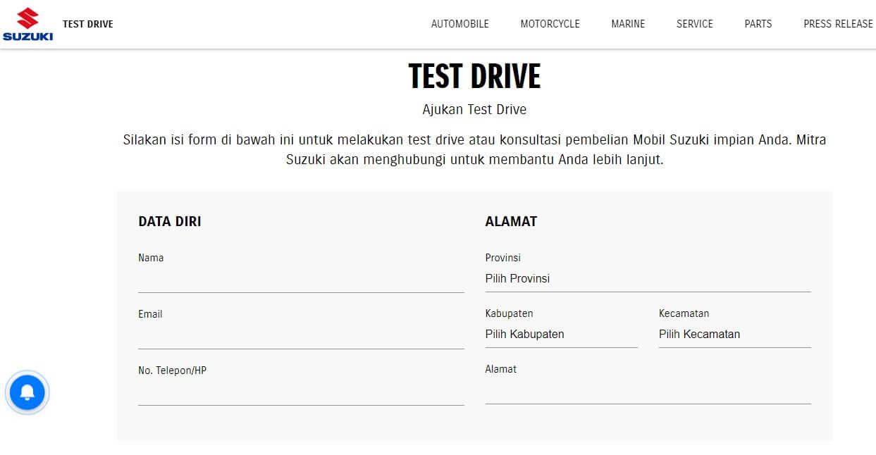 Pengajuan Test Drive Suzuki