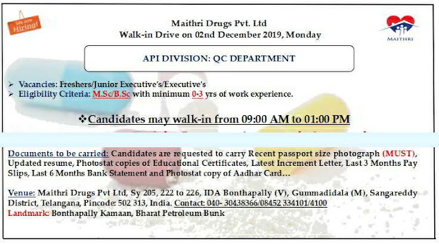 Walk-in drive for Freshers and Experienced candidates on 2nd Dec' 2019 @ Maithri Drugs