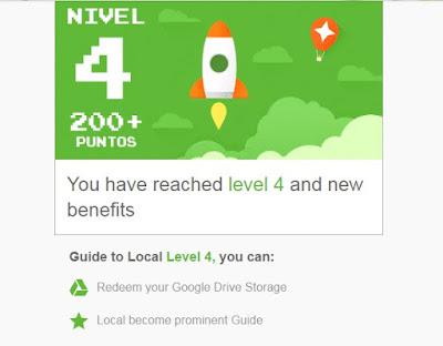 al alcanzar el nivel 4 de local guide obtienes 100 gigas extra en gmail y todos sus servicios