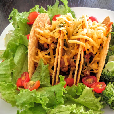 Beef and Bean Tacos:  A slightly spicy taco filling made with ground beef and black beans.