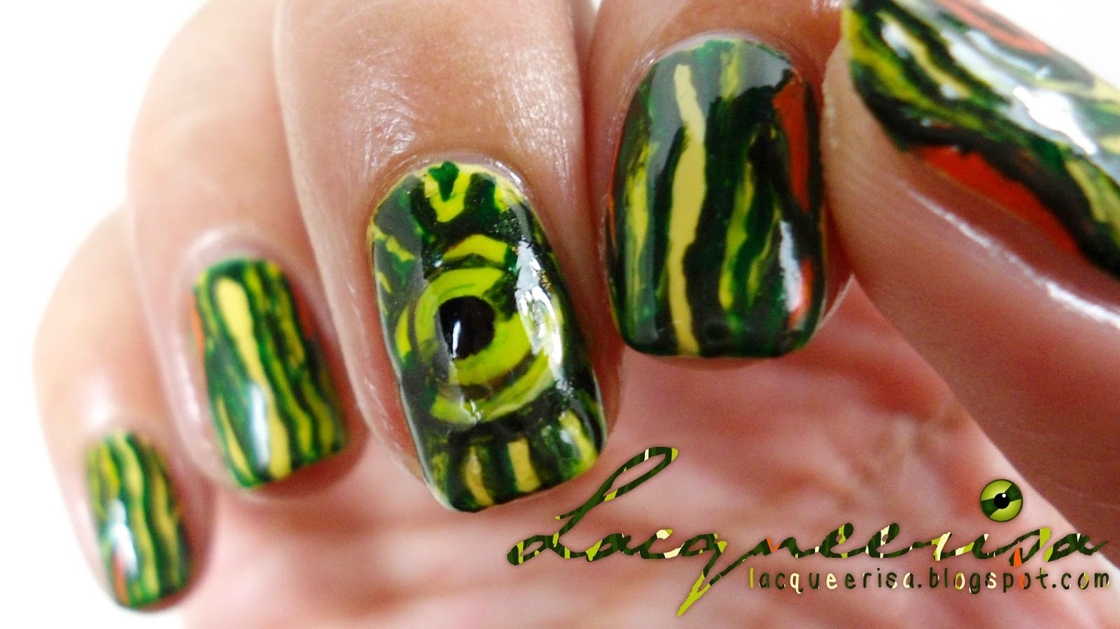 Lacqueerisa: Red-Eared Slider Inspired Nails