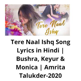 Tere Naal Ishq ,Tere Naal Ishq song from zee music, Tere Naal Ishq hindilyrics,hindi lyrics of Tere Naal Ishq