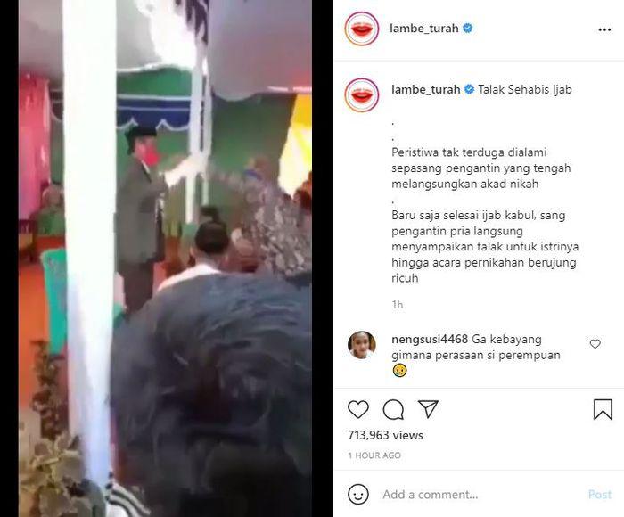 Seorang pria yang baru saja selesai melakukan ijab kabul tiba-tiba menalak istrinya, hingga menimbulkan kericuhan. tangkap layar Instagram @lambe_turah