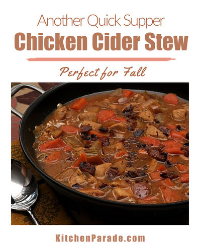 Chicken Cider Stew, another Quick Supper ♥ KitchenParade.com, a colorful fall stew with sweet potatoes, carrots. Rave reviews. Weight Watchers friendly!