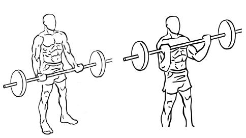 cvik na biceps s veľkou činkou v stoji