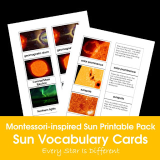 Montessori-inspired Sun Printable Pack: Sun Vocabulary Cards
