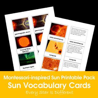 Montessori-inspired Sun Printable Pack: Sun Vocabulary Cards