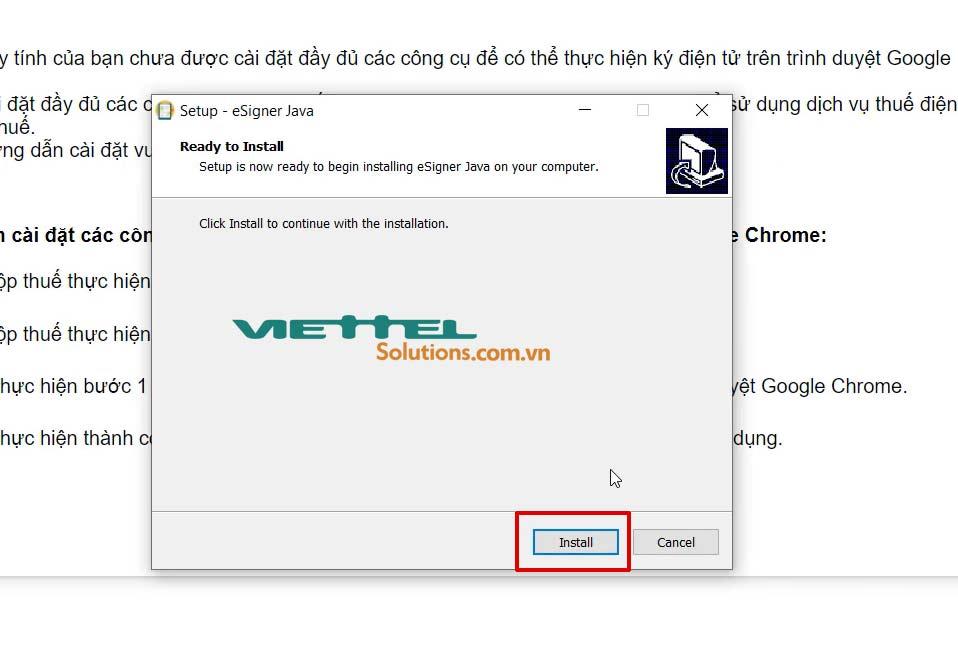 Hình 16 - Nhấn Install để tiến hành cài đặt eSigner 1.0.8
