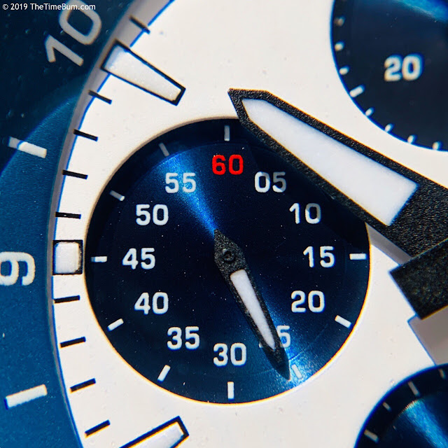Jubileon Superellipse Chronograph Blue on White subdial macro