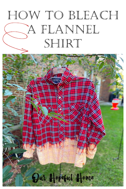 hanging red plaid flannel bleached shirt