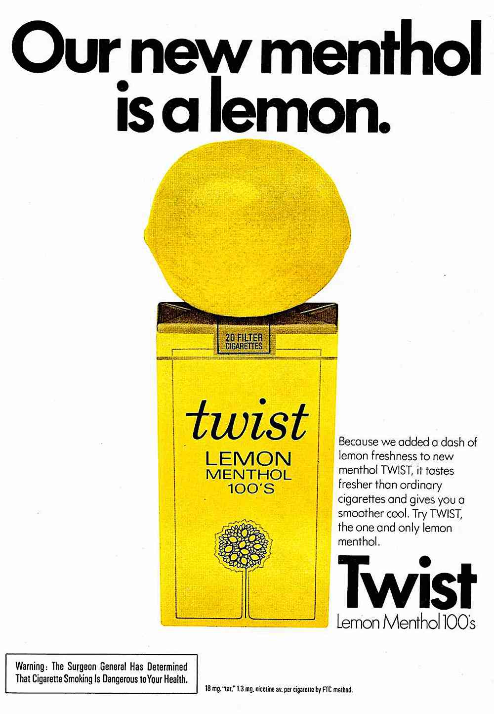 1974 Twist lemon flavored cigarettes