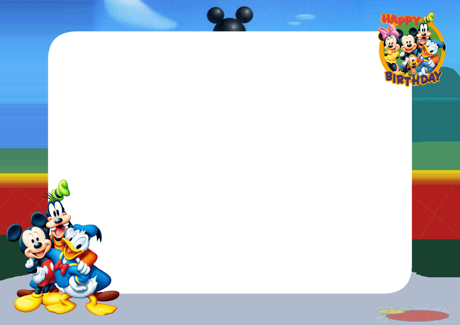 Mickey Mouse Birthday Png Frame Printable Png Frames Cartoon Character Png Photo Frames