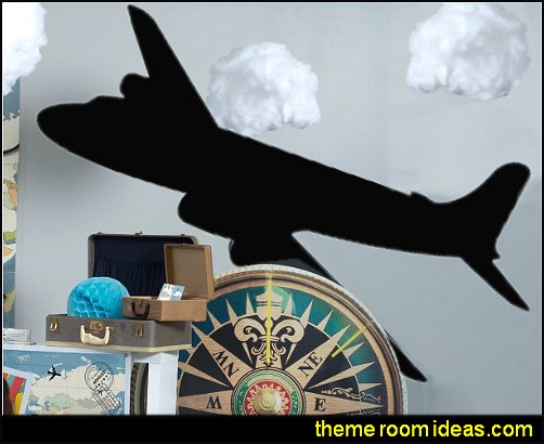 Airplane wall decal travel bedroom decorating ideas vintage travel decorations travel decor