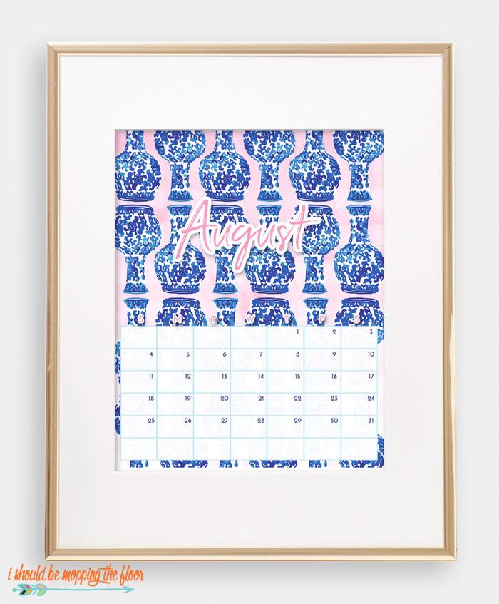 August Chinoiserie Calendar
