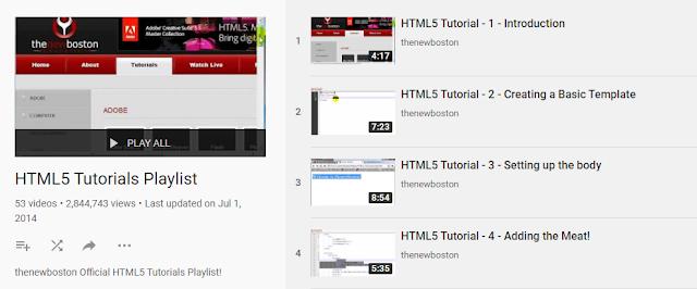 HTML5 Tutorials Playlist
