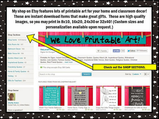 Visit Our Teaches Pay Teachers Store and Printable Art Shop on Etsy!