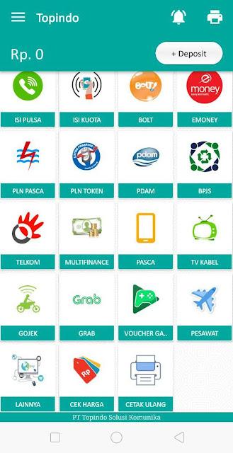 tampilan menu aplikasi Android Topindo Solusi Komunika