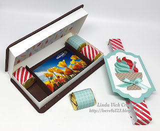 Linda Vich Creates: Ice Cream Sandwiches and Irresistibly Floral. An ice cream sandwich treat box CASED from Barb Mullikin for my stamping group projects.