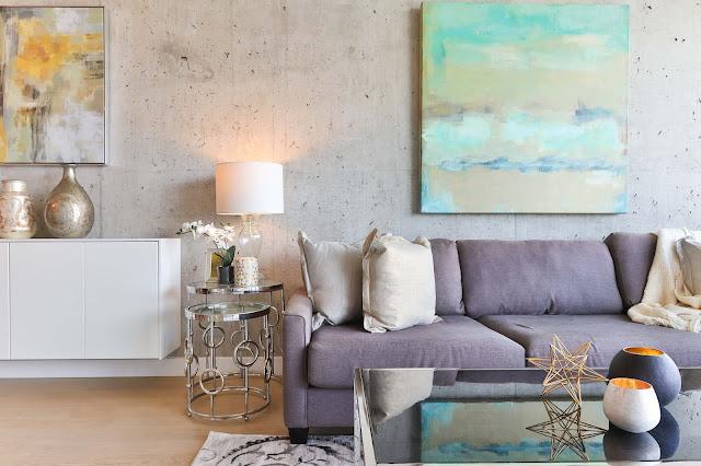 Cool tones small living room decor