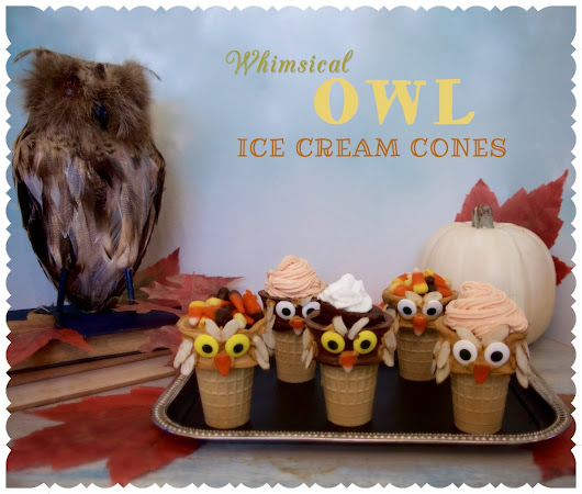 Whoooo wants dessert? candy covered owl cones