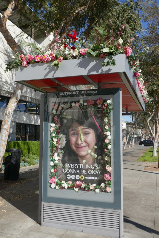 Everythings Gonna Be Okay floral bus shelter
