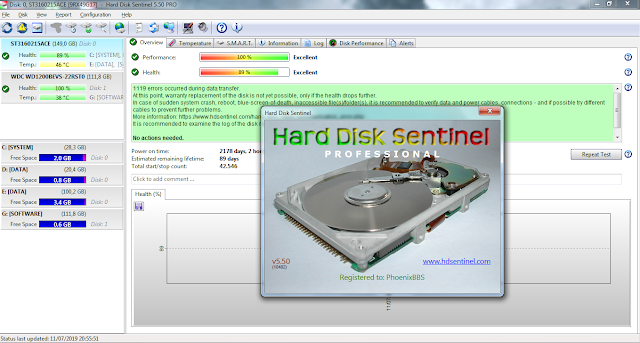 Screenshot Hard Disk Sentinel Pro 5.50.10482 Full Version