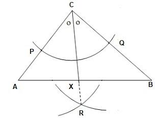 Langkah langkah melukis garis bagi pada segitiga