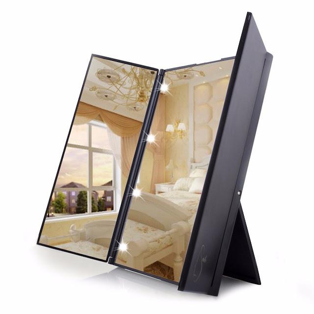 Miroir Lumineux Maquillage de Poche Triple Pliant Miroir de Table Écran Tactile 8 LEDs Pour la Beauté ou Un Maquillage Parfait - Noir