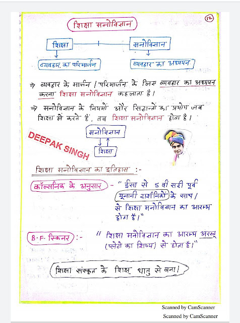 Education Psychology Handwritten Notes : For All Competitive Exams