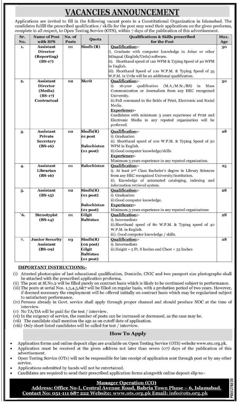 Constitutional Organization, Government of Pakistan  OTS Jobs