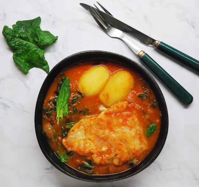 Ragoût cabillaud-tomates-epinards