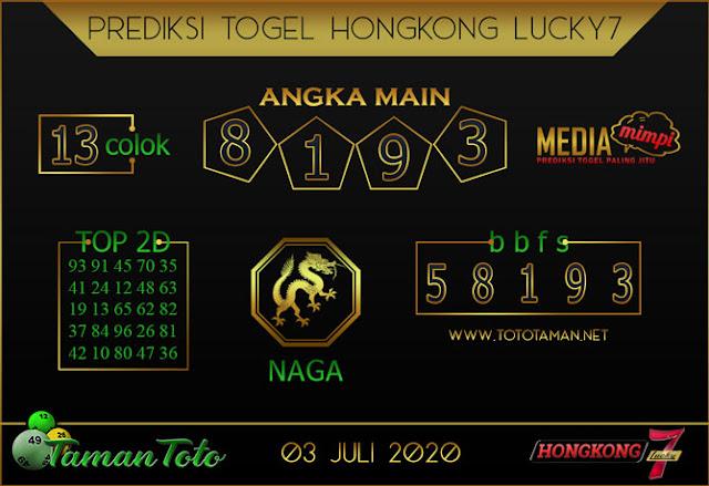 Prediksi Togel HONGKONG LUCKY 7 TAMAN TOTO 03 JULI 2020