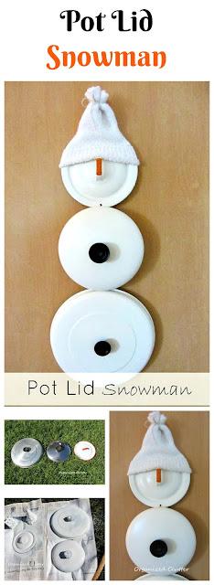 Pot Lid Snowman www.organizedclutter.net